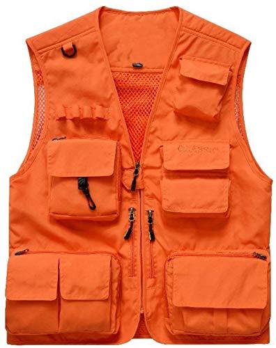 Saoye Fashion Herren Outdoor Schnell Trocken Multi Taschen Mesh Westen Männer Nner Kleidung Jagd Und Anglerweste Gerweste Arbeitsweste Rmellose Jacke Top (Color : Orange, Size : XL)