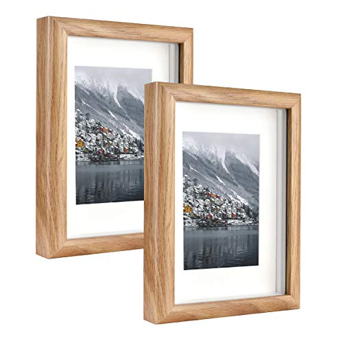 Metrekey Marco de fotos 3D de 13 x 18 cm, con cristal para rellenar, marco Hozl con paspartú para 9 x 13 cm, juego de 2, color amarillo para pantalla de mesa y colgante de pared