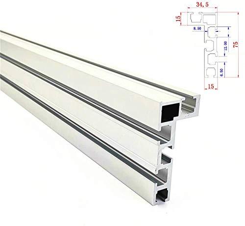 NOBGP T-Slot Track Aluminio Backer de carpintería Sierra para Trabajo de Madera Banco de Trabajo de Bricolaje para Valla 75mm Altura con T-Tracks JIgs de construcción,800mm