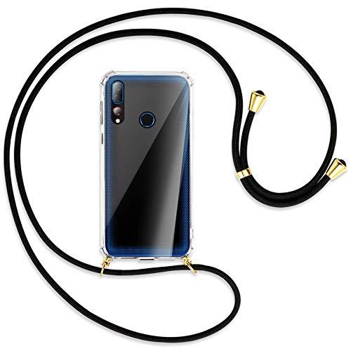 mtb more energy® Handykette kompatibel mit HTC Desire 19+, 19 Plus (6.2'') - schwarz/Gold - Smartphone Hülle zum Umhängen - Anti Shock Strong Full TPU Hülle