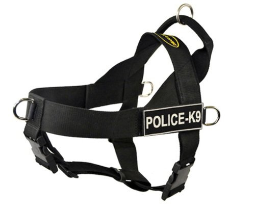 DT Universal No Pull Dog Harness, Police-K9, Black, X-Small, Fits Girth Size: 21-Inch to 25-Inch