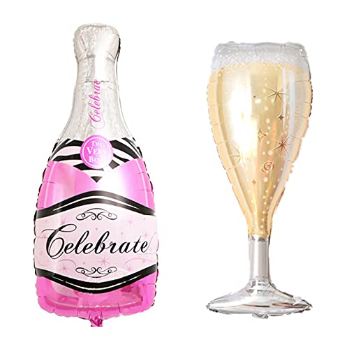 ballonfritz® Luftballon-Set Champagner Sekt Flasche und Glas - XXL Folienballon in Pink als Hochzeit Deko, Begrüßung, Party Geschenk oder Sektempfang-Überraschung
