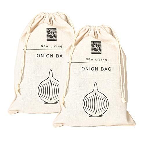 New Living Lot de 2 sacs à oignons en lin bio et coton 26 x 38 cm