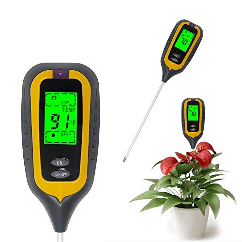 KETOTEK Misuratore di PH umidità Temperatura e Luce Solare 4 in 1 Tester Terra PH Tester Terreno Misuratore di umidità del Suolo per Piante Bonsai Giardino Prato Fattoria