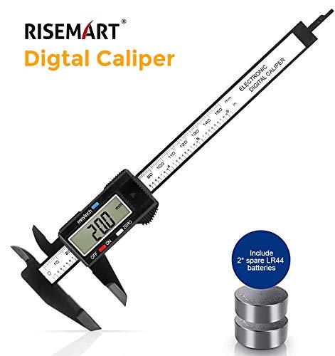 RISEMART Digital Messschieber, 150mm / 6-Zoll Digitale Schieblehre mit großem LCD-Display für Außen-, Innen- Und Tiefenmaß,2 Ersatzbatterie für Haushalt und Industrie Messung