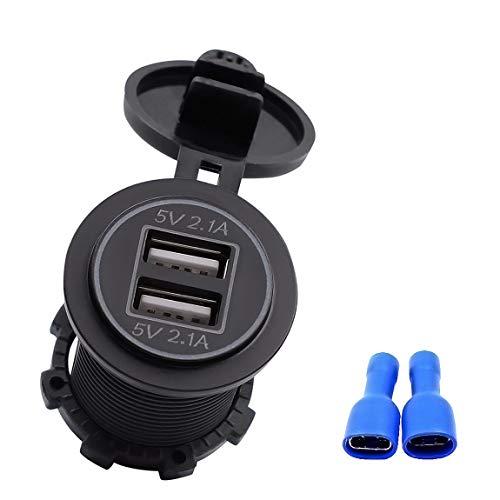 4.2A puertos USB duales portátiles cargador de coche enchufe adaptador con luz adecuado para motocicletas de 12 V-24 V y (color: negro)