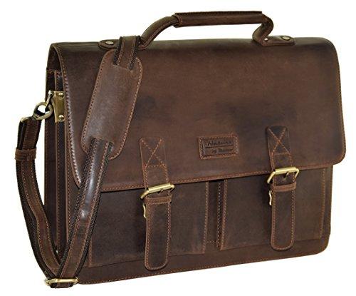 "MENZO Lederaccessoires ""Oxford"" Buffalo Vintage Leder, Lederaktentasche, Umhängetasche, Messengerbag, Businesstasche, Lehrertasche, Überschlagtasche, Notebooktasche (Marrone)"