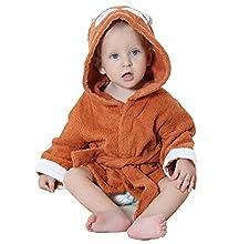 STOFIA Albornoz Bebes 100% Algodon - Toalla Bebe Recien Nacido 1 - 12 Meses Bata Casa Infantil Poncho Capa Y Regalos Para Niños (Zorro Marrón)