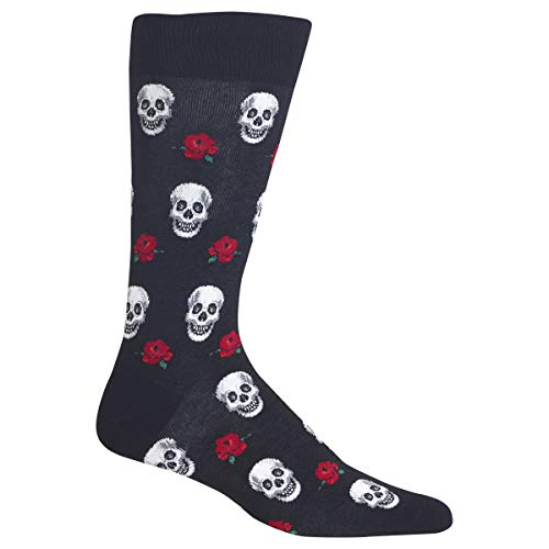 Hot Sox Herren-Socken für Gesprächsstarter, lässig, Crew-Socken Gr. M, Totenköpfe & Rosen (Schwarz)