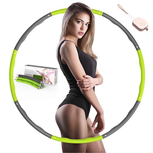 SOCLL Hula Reifen Hoop für Erwachsene, 8 Abnehmbare Abschnitte Reifen Geeignet für Erwachsene und Kinder, Rings für Fitness zur Bauchformung Zuhause Büro, Grün