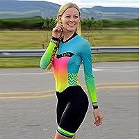 女性の専門のトライアスロンサイクリングジャージーワンピース長袖ジャンプスーツサイクリングバイクウェア水着 (Color : 4, Size : Large)