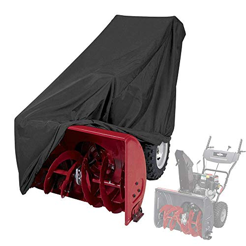 Himal Snow Thrower Cover-Heavy Duty Polyester,Waterproof,UV Protection,Universal Size Snow Blower Covers for Most Electric Two Stage Snow Blowers with Carry Bag (Black(Larger))