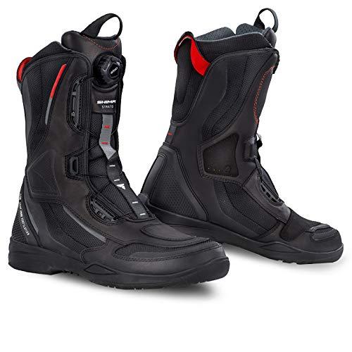 SHIMA STRATO Stivali Moto Uomo, Traspirante, Rinforzate Stivali Moto Turismo con Sistema di Chiusura Rapida ATOP, Protezione della Caviglia, Suola Antiscivolo, Pannelli Riflettenti (Nero, 44 EU)