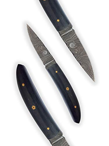 DELLINGER Spike Ebony & Damastmesser & Damaststahl Messer & Outdoor Jagd Damastmesser 70 mm Klinge & inklusive Lederscheide