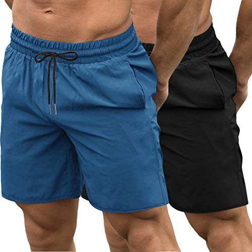 COOFANDY Men's 2 Pack Gym Workout Shorts Quick Dry Bodybuilding Weightlifting Pants Training Running Jogger with Pockets (Black/Blue, Small)
