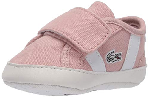 Lacoste Baby Girls Kid's Sideline Sneaker Crib Shoe, Natural/White, 1 Infant