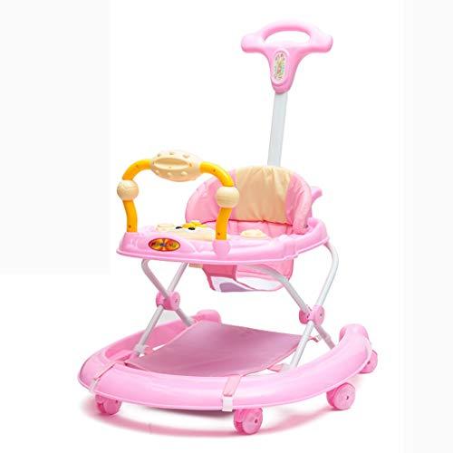 Moolo Trotteurs Baby Walker Premiers Pas, 6 Mois à 15 kg roulettes 3-en-1 Musique légère Siège du Centre de Jeu Amovible réglable en Hauteur (Couleur : Rose)