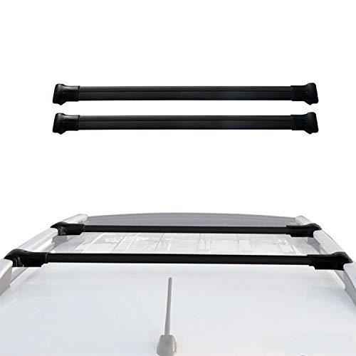 OMAC 2 peças de porta-malas com barras transversais para Jeep Renegade 2019-2020 | Barras transversais de bagagem em alumínio preto