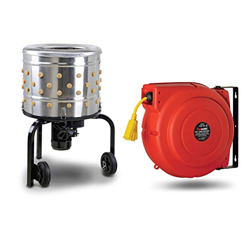 """Kitchener Chicken Plucker 20""""In Drum Diameter and Reelworks Extension Cord Reel12AWG x 65'ft [BUNDLE DEAL]"""