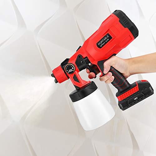 SEAAN -Pulverizador eléctrico de pintura inalámbrico, pistola de HVLP de 800 ml...