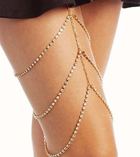 iKulilky Frauen Oberschenkel Mehrreihige Sexy Strass Bein Kette Bikini Quaste Bauch Körper Kette Schmuck