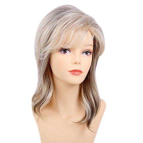 Sharplace 15 pouces Femmes épaule longueur droite blonde en couches moyennes taille perruques 80% vrais cheveux humains + fibre synthétique perruques cosplay comme perruque de cheveux réel