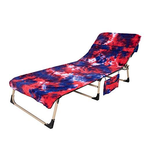 Mingfuxin, telo da spiaggia in microfibra, con tasche laterali, telo in spugna, telo mare per piscina, sdraio, prendere il sole in vacanza Rosso