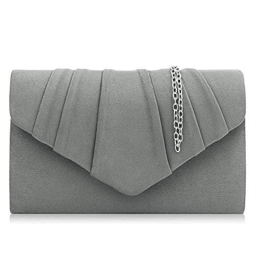 Milisente Clutch Damen, Elegante Wildleder Clutch Umschlag Crossbody Klassisch Clutch Tasche Abendtasche (grau)