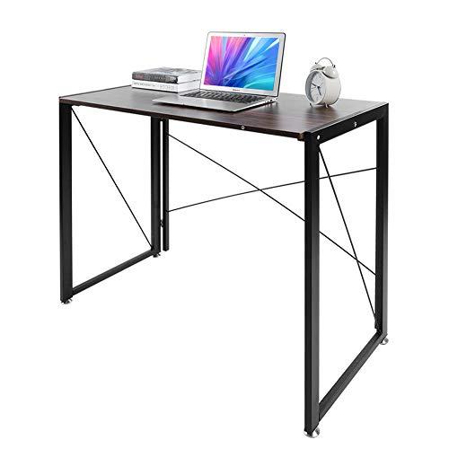 Pezakih Escritorio, mesa de ordenador, tablero de fibra de densidad media + marco de hierro en forma de X para sala de estar, dormitorio, estudio, oficina