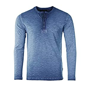 Men's Color Dyed Long Sleeve Crew Neck Slim Athletic Button Henley Shirt