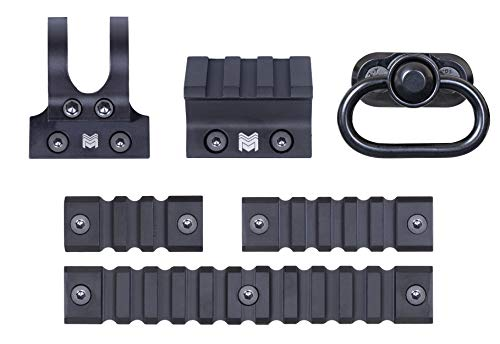 Monstrum M-LOK Accessory Pack | Includes 2-inch, 3-inch, 5-inch Rail Sections | Flashlight, Sling, and 45 Degree Offset Mounts