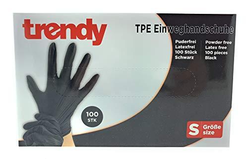 MC-Trend - 100 guantes desechables de TPE, color negro, sin polvo, sin látex, en caja dispensadora, small