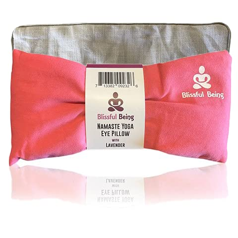 Blissful Being Namaste Yoga Eye Pillow with Grey Cotton Cover - Lavender Eye Pillow perfect for Meditation, Relaxation, Yoga and Stress Relief - Soft, Organic Cotton (Pink with Grey Cover bundle)