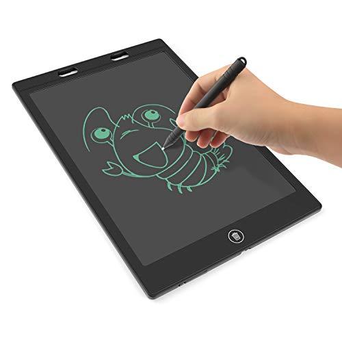 PTN Tableta de Escritura LCD 12 Pulgadas, Tableta de Dibujo LCD con Eliminación de Una Tecla, Adecuado para Niños y Adultos en el Hogar, la Escuela, la Oficina, el Bloc de Notas (Negro)