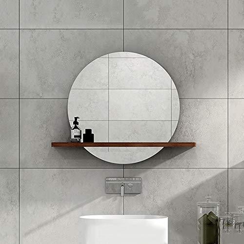 Bathroom Mirror LDFZ ronde wandspiegel met legplank, badkamerspiegel voor wand, HD explosiebeveiligde, frameloze make-upspiegel