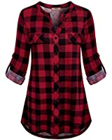Miusey Buffalo Plaid,Women Fashion 2019 Roll-up Clothing Front Buttons Henley Tunic Shirt Vintage Checked Pattern Pretty Soft Fabric Chic Cozy Business Casual Work Wear Red Black L
