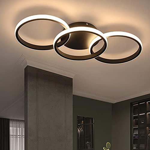 ZMH Deckenleuchte LED Deckenlampe Wohnzimmer - Schwarz Küchenlampe mit 3 Ringe 3000K Warmweiße Licht für Schlafzimmer Flur 36W Innen Beleuchtung Modern Design Deckenbeleuchtung