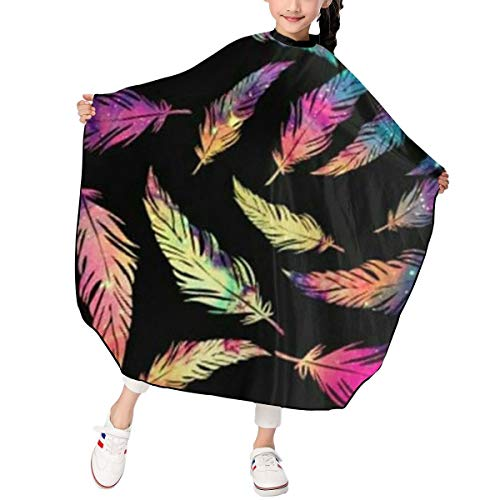 Kids Haircut Apron,Colrofu Feather Barber Cape Cover for Hair Cutting,Styling and Shampoo, for Boys and Girls
