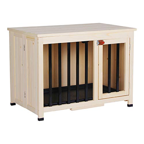 Lovupet tragbare Faltbare Hundehütte Isoliert Hundehaus Hundbox XXL, aus unbehandeltem Holz Indoor und Outdoor, 0652CR