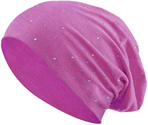 Jersey Baumwolle elastisches Long Slouch Beanie Unisex Herren Damen mit Strass Stern Steinen Mütze Heather in 35 (7) (Pink-Blue)