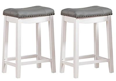 "Angel Line Cambridge bar stools, 24"" Set of 2, White with Gray Cushion"