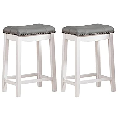 Angel Line Cambridge Padded Saddle Stool, White with Gray Cushion, 24  H, Set of 2