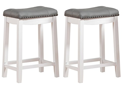 Angel Line Cambridge bar stools 24quot Set of 2 White with Gray Cushion