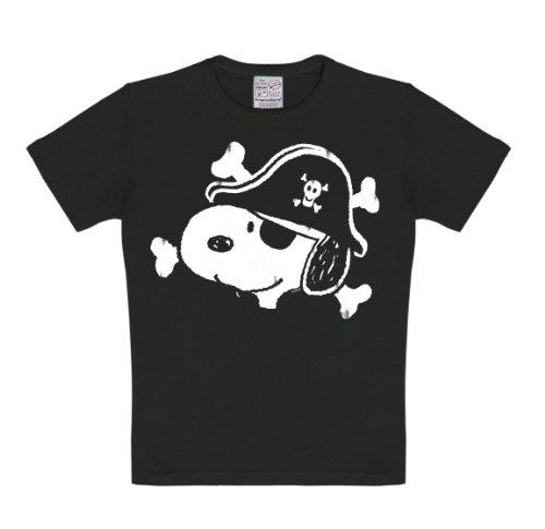 Logoshirt Peanuts - Snoopy Pirat T-Shirt Kinder Jungen - schwarz - Lizenziertes Originaldesign, Größe 170-176