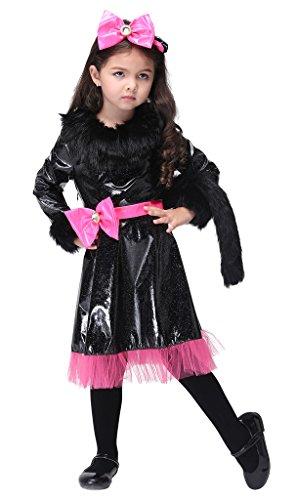 Bigood Costumes Déguisement Cospaly Princesse Chat pour Enfant Fille pour Halloween S