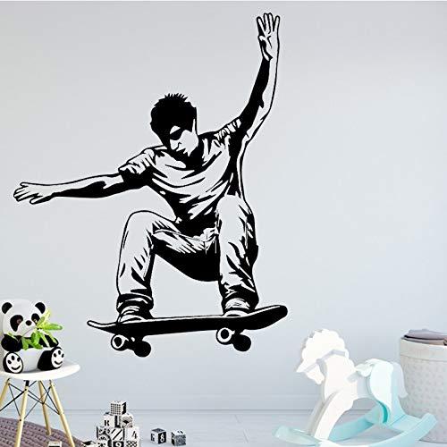Cooler Mann Skateboard Wandaufkleber Wohnzimmer Schlafzimmer PVC dekorative Vinyl abnehmbare selbstklebende Wand kreative Kunst Zubehör A3 XL 58cm x 72cm