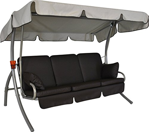 Angerer 51902/130/20 Premium Comfort Hollywoodschaukel Design Leder Schoko, Sonnendach beige, 3-Sitzer