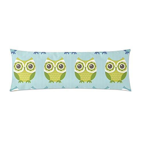 CiCiDi Body Pillow Case 5ft(50cm X 150cm) Cartoon Owls Body Pillowcase Soft Cotton Machine Washable with Zippers Maternity/Pregnancy Pillow Cover