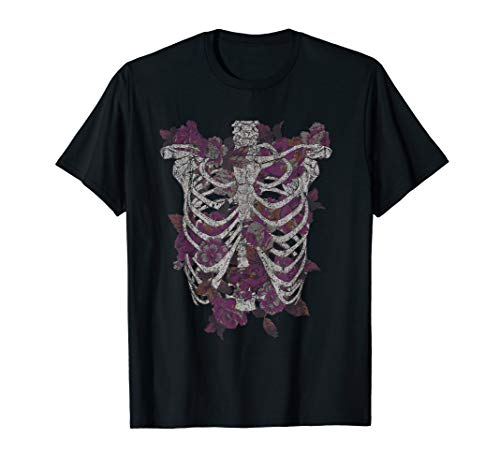 Flowers Inside Ribcage Distressed Drawing T-Shirt