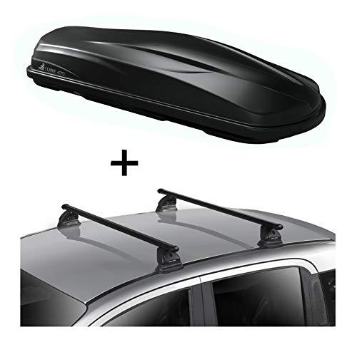 Dachbox CUBE470 470 Liter schwarz glänzend + Dachträger VDP EVO Stahl kompatibel mit Mercedes CLA Shooting Brake (X117) 5 Türer 2015-2019